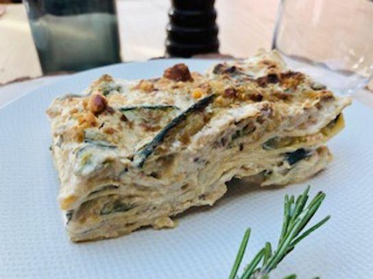 Lasagnes courgettes gorgonzola noisettes