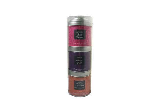 Thé vert Au Temps des Tsarines, thé noir Ceylan et thé noir aromatisé Fruits Rouges