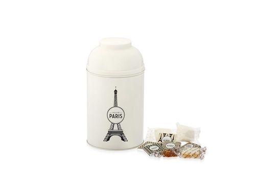 Boîte Tour Eiffel en métal laqué blanche garnie de confiseries 265g