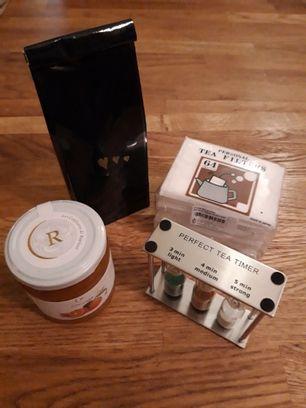 Coffret thé+ confiture+ sablier+ sachet filtres